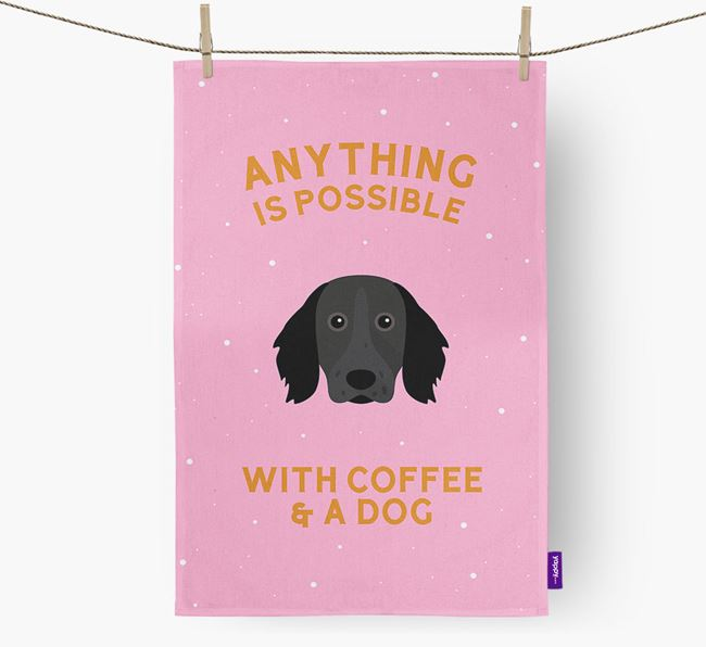 'Anything Is Possible With Coffee/Tea...' - Personalized Large Munsterlander Dish Towel
