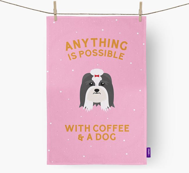 'Anything Is Possible With Coffee/Tea...' - Personalized Lhasa Apso Dish Towel