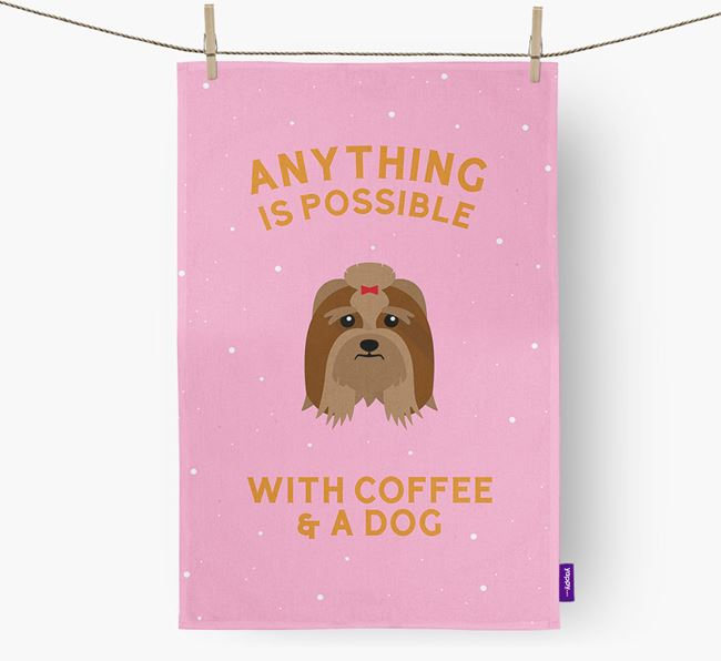 'Anything Is Possible With Coffee/Tea...' - Personalised Lhasa Apso Tea Towel