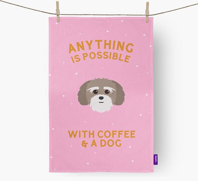 'Anything Is Possible With Coffee/Tea...' - Personalized Lhatese Dish Towel