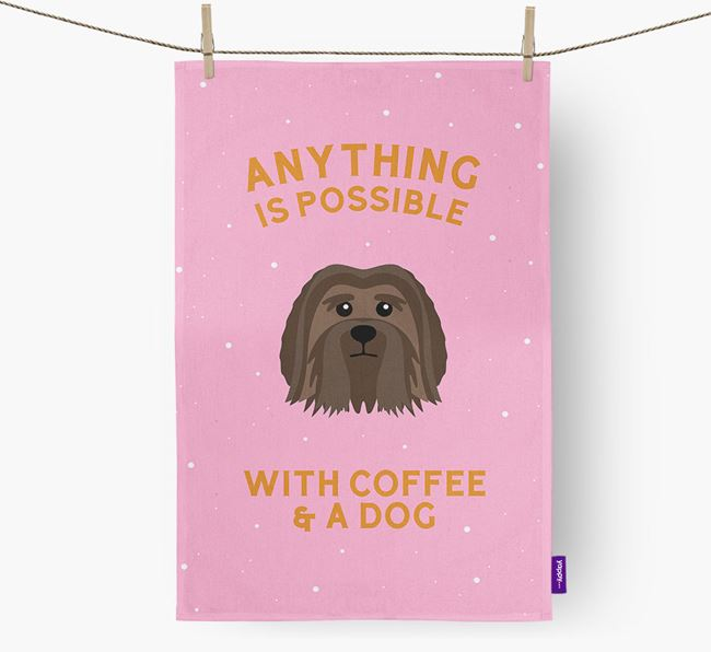 'Anything Is Possible With Coffee/Tea...' - Personalized Löwchen Dish Towel