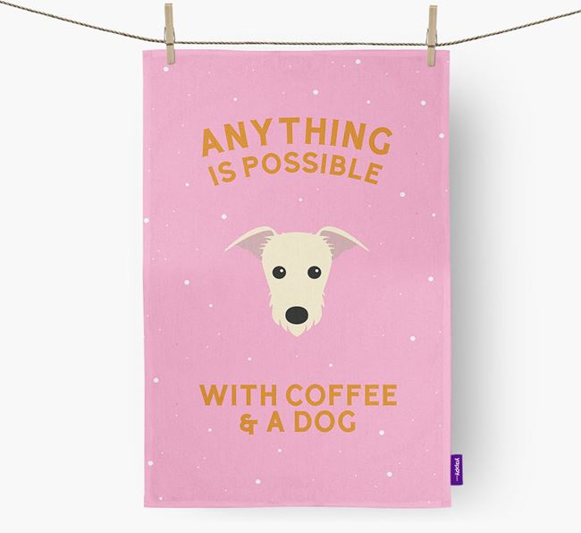 'Anything Is Possible With Coffee/Tea...' - Personalized Lurcher Dish Towel