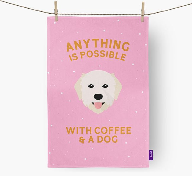 'Anything Is Possible With Coffee/Tea...' - Personalized Maremma Sheepdog Dish Towel
