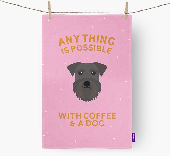 'Anything Is Possible With Coffee/Tea...' - Personalized Miniature Schnauzer Dish Towel