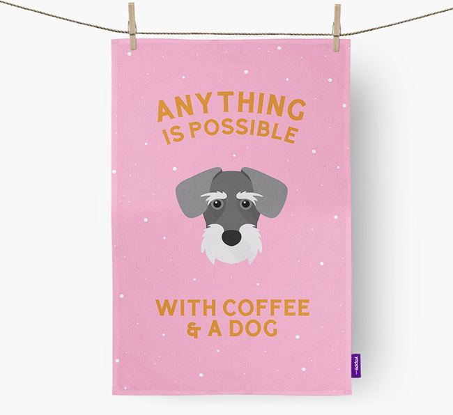 'Anything Is Possible With Coffee/Tea...' - Personalized Miniature Schnoxie Dish Towel