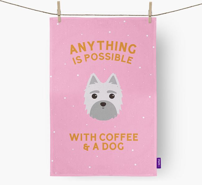 'Anything Is Possible With Coffee/Tea...' - Personalized Morkie Dish Towel