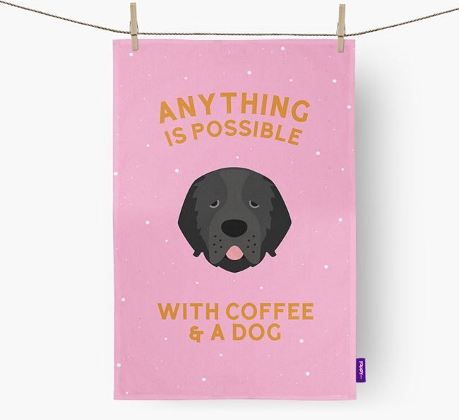 'Anything Is Possible With Coffee/Tea...' - Personalized Newfoundland Dish Towel