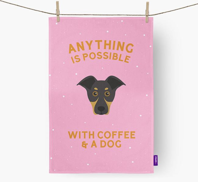 'Anything Is Possible With Coffee/Tea...' - Personalized New Zealand Huntaway Dish Towel