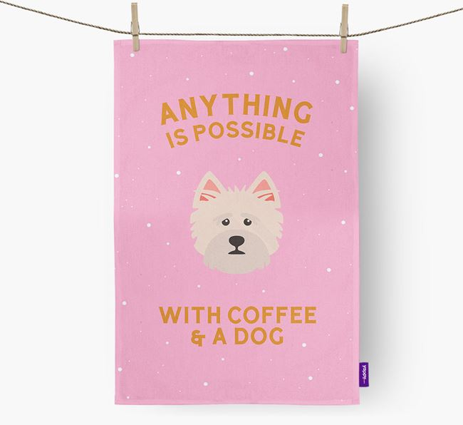 'Anything Is Possible With Coffee/Tea...' - Personalized Norfolk Terrier Dish Towel