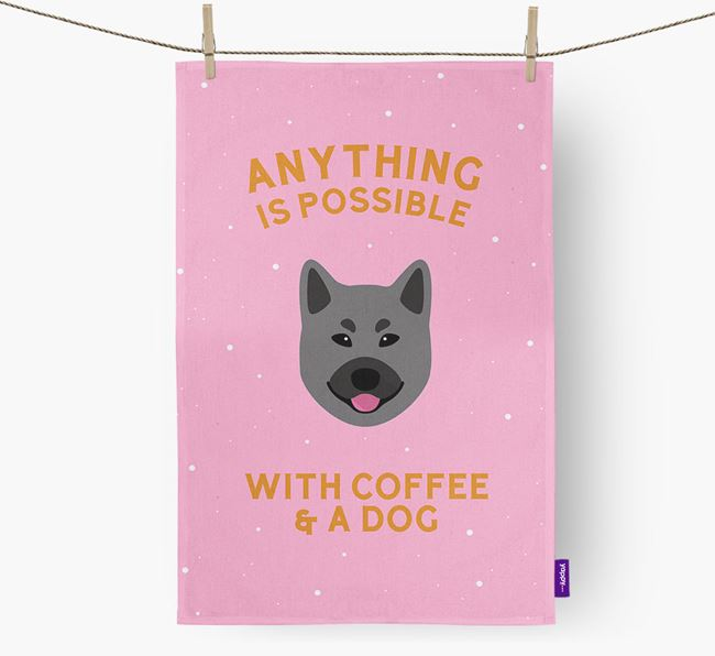 'Anything Is Possible With Coffee/Tea...' - Personalized Norwegian Elkhound Dish Towel