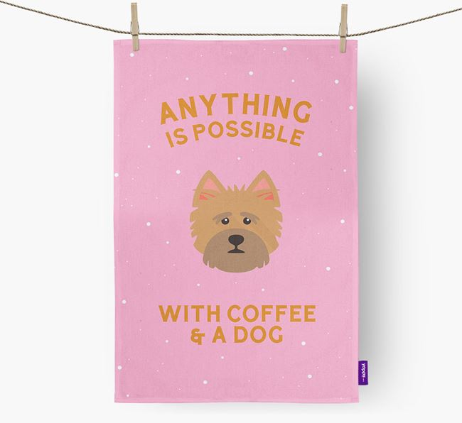 'Anything Is Possible With Coffee/Tea...' - Personalized Norwich Terrier Dish Towel