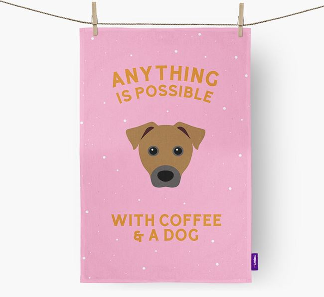'Anything Is Possible With Coffee/Tea...' - Personalized Patterdale Terrier Dish Towel