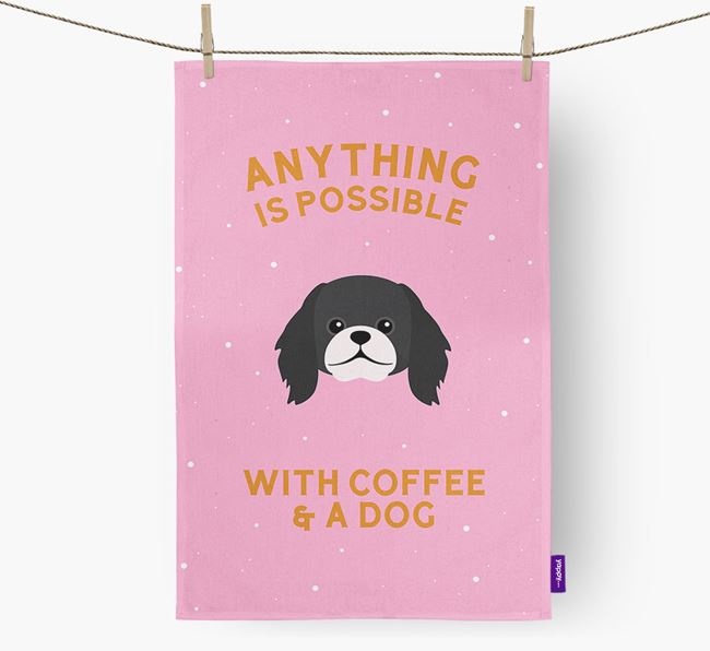 'Anything Is Possible With Coffee/Tea...' - Personalized Pekingese Dish Towel