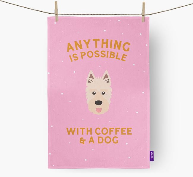 'Anything Is Possible With Coffee/Tea...' - Personalized Picardy Sheepdog Dish Towel