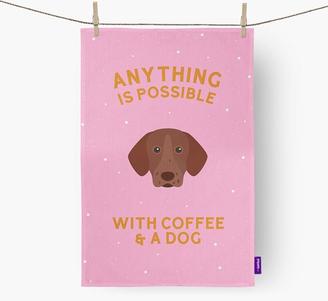 'Anything Is Possible With Coffee/Tea...' - Personalized Pointer Dish Towel