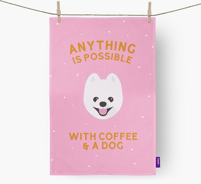 'Anything Is Possible With Coffee/Tea...' - Personalized Pomapoo Dish Towel