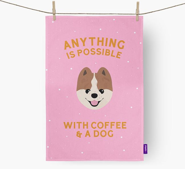 'Anything Is Possible With Coffee/Tea...' - Personalized Pomeranian Dish Towel