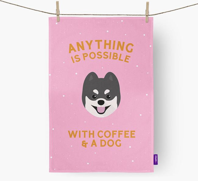 'Anything Is Possible With Coffee/Tea...' - Personalized Pomsky Dish Towel