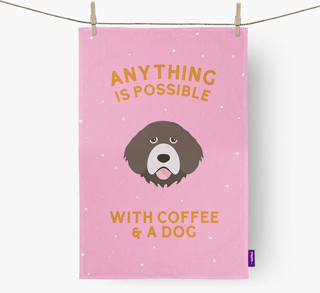 'Anything Is Possible With Coffee/Tea...' - Personalized Portuguese Water Dog Dish Towel