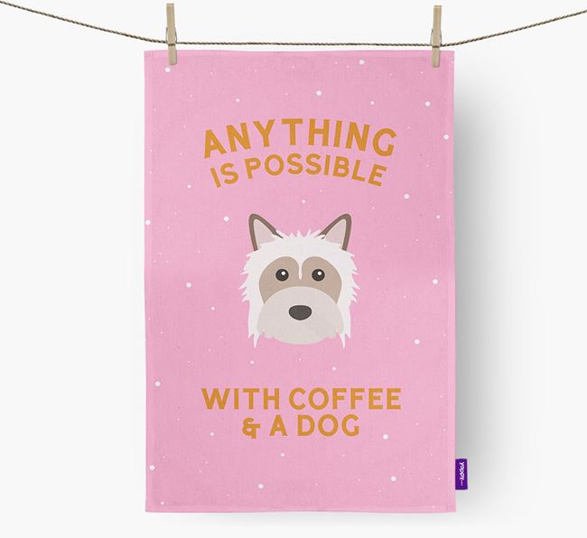 'Anything Is Possible With Coffee/Tea...' - Personalized Powderpuff Chinese Crested Dish Towel