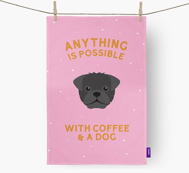 'Anything Is Possible With Coffee/Tea...' - Personalized Pugapoo Dish Towel
