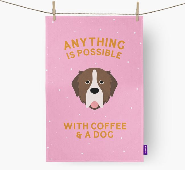 'Anything Is Possible With Coffee/Tea...' - Personalized Pyrenean Mastiff Dish Towel