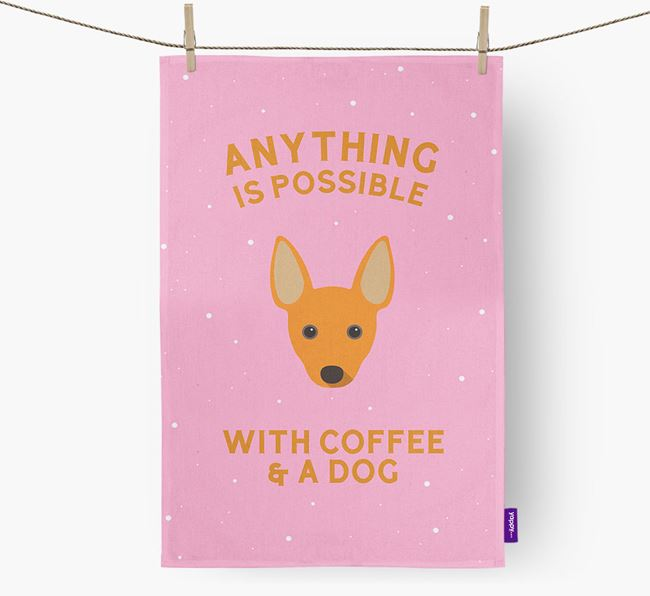 'Anything Is Possible With Coffee/Tea...' - Personalized Rat Terrier Dish Towel