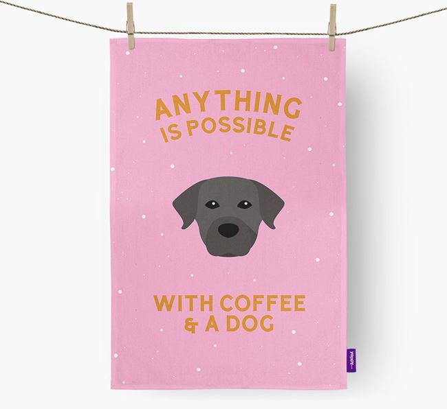 'Anything Is Possible With Coffee/Tea...' - Personalized Rescue Dog Dish Towel