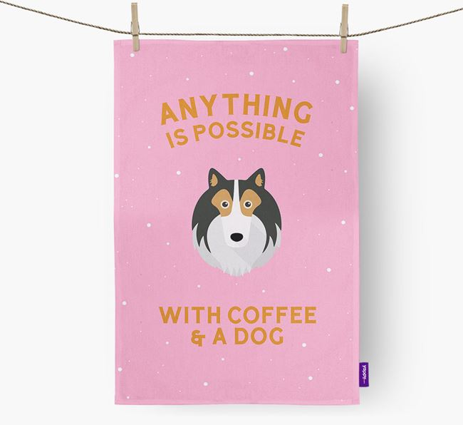 'Anything Is Possible With Coffee/Tea...' - Personalized Rough Collie Dish Towel
