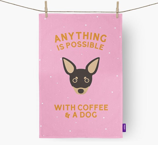 'Anything Is Possible With Coffee/Tea...' - Personalized Russian Toy Dish Towel
