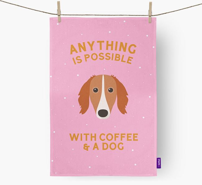 'Anything Is Possible With Coffee/Tea...' - Personalized Saluki Dish Towel