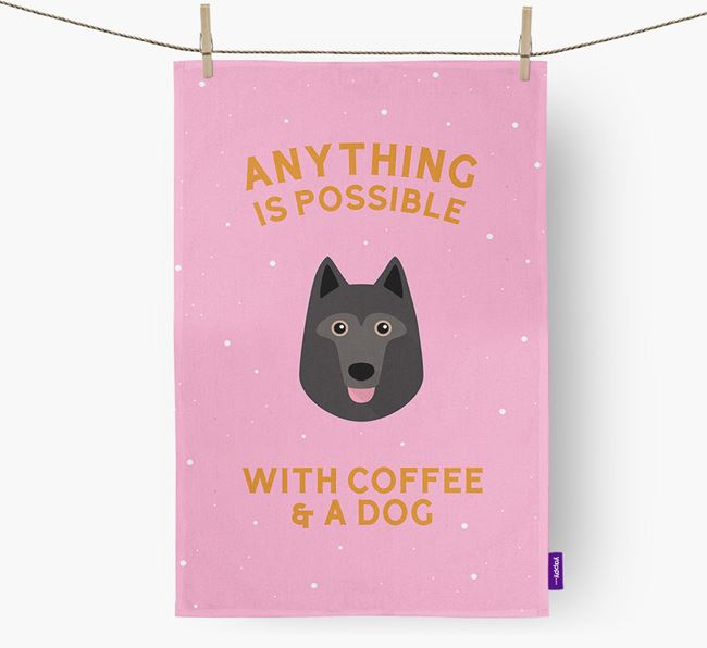 'Anything Is Possible With Coffee/Tea...' - Personalized Schipperke Dish Towel