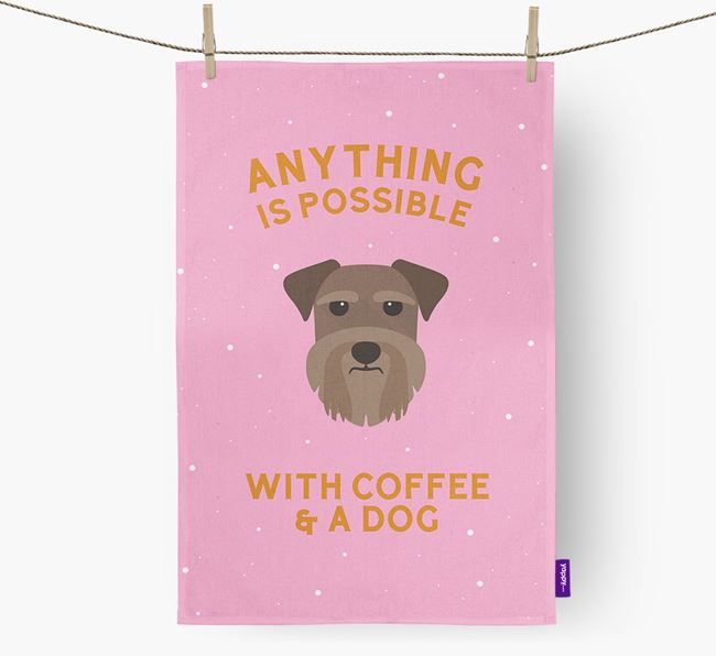 'Anything Is Possible With Coffee/Tea...' - Personalized Schnauzer Dish Towel