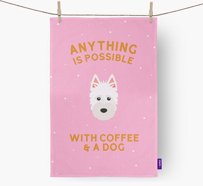 'Anything Is Possible With Coffee/Tea...' - Personalized Scottish Terrier Dish Towel