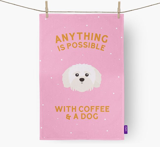 'Anything Is Possible With Coffee/Tea...' - Personalized Shih-poo Dish Towel