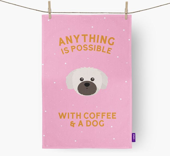 'Anything Is Possible With Coffee/Tea...' - Personalized Shih Tzu Dish Towel