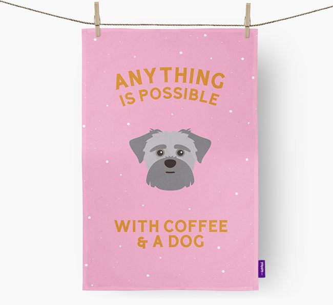 'Anything Is Possible With Coffee/Tea...' - Personalized Shorkie Dish Towel