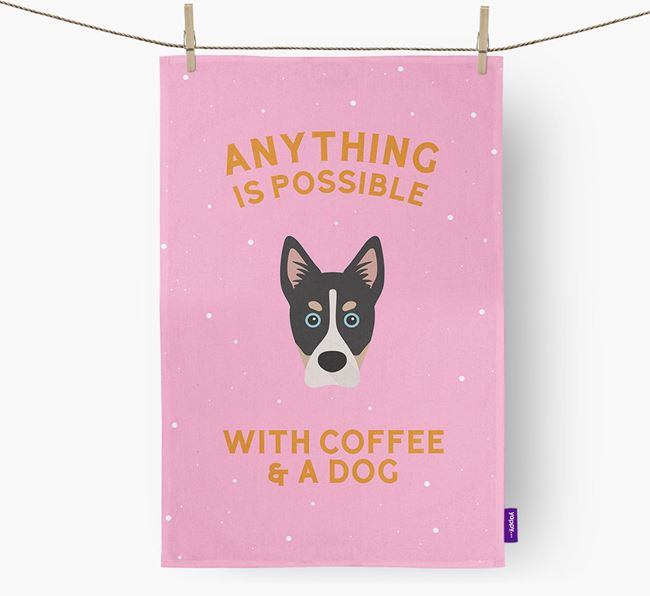 'Anything Is Possible With Coffee/Tea...' - Personalized Siberian Cocker Dish Towel