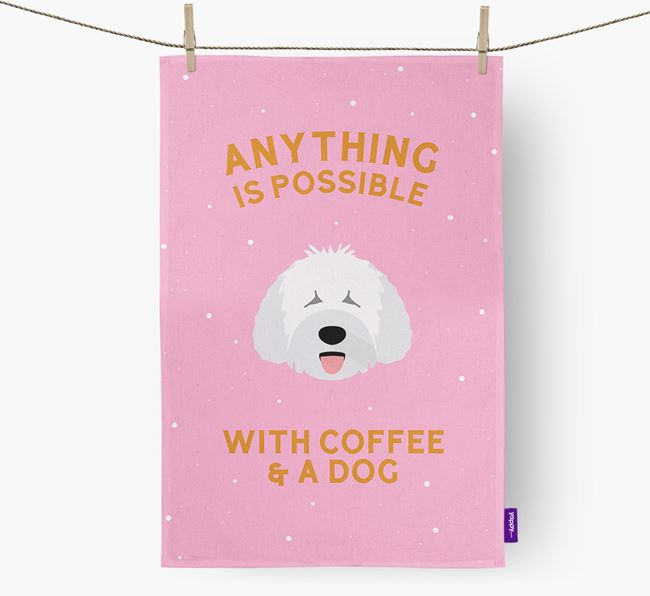 'Anything Is Possible With Coffee/Tea...' - Personalized Spanish Water Dog Dish Towel