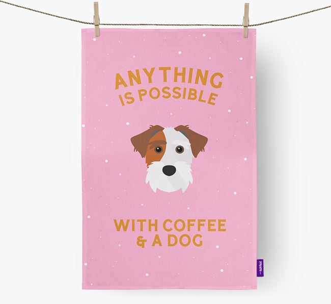 'Anything Is Possible With Coffee/Tea...' - Personalized Sporting Lucas Terrier Dish Towel