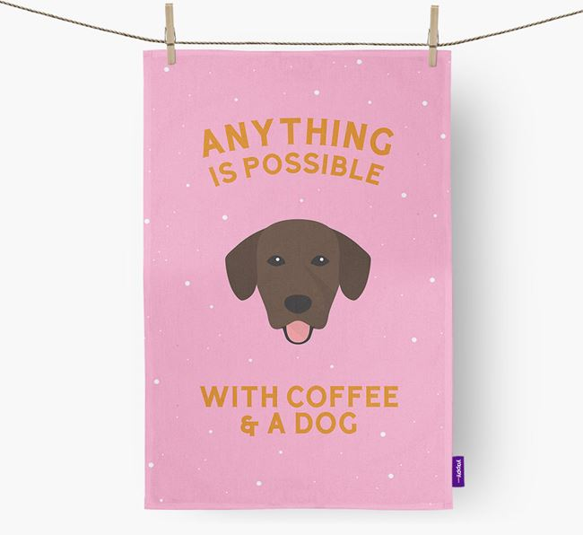 'Anything Is Possible With Coffee/Tea...' - Personalized Springador Dish Towel