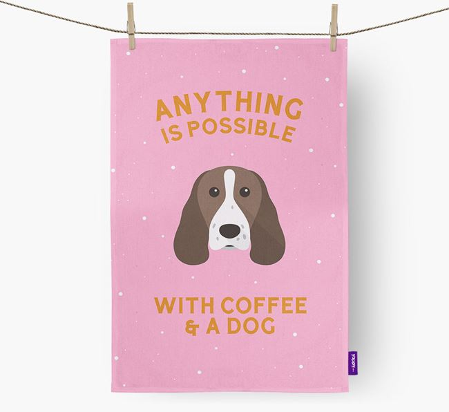 'Anything Is Possible With Coffee/Tea...' - Personalized Springer Spaniel Dish Towel