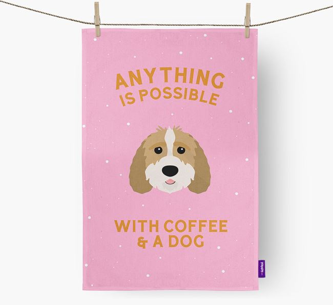 'Anything Is Possible With Coffee/Tea...' - Personalized Sproodle Dish Towel