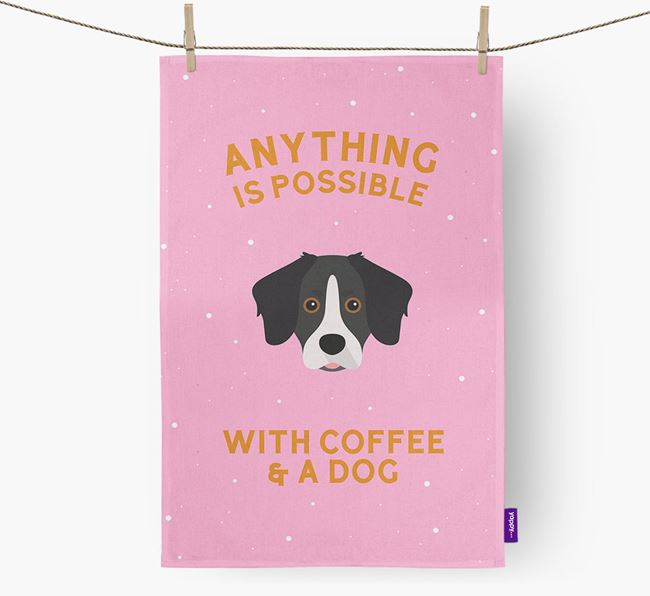 'Anything Is Possible With Coffee/Tea...' - Personalized Stabyhoun Dish Towel