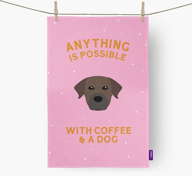 'Anything Is Possible With Coffee/Tea...' - Personalized Staffador Dish Towel