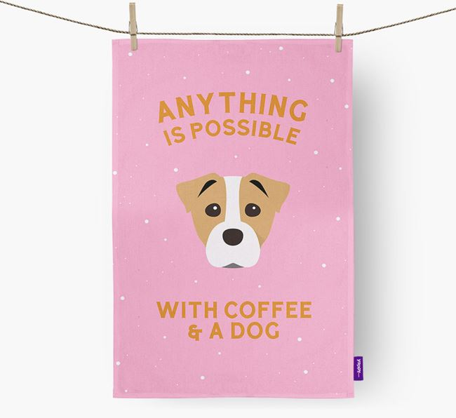 'Anything Is Possible With Coffee/Tea...' - Personalized Staffy Jack Dish Towel