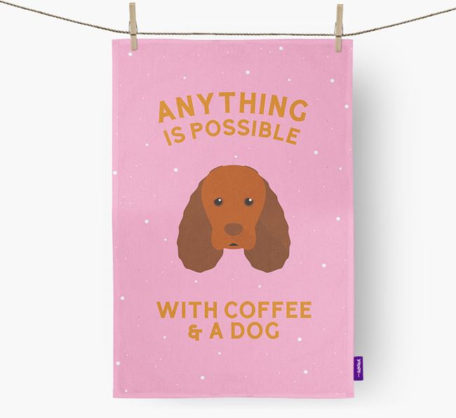 'Anything Is Possible With Coffee/Tea...' - Personalized Sussex Spaniel Dish Towel
