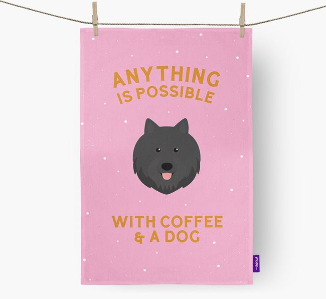 'Anything Is Possible With Coffee/Tea...' - Personalized Swedish Lapphund Dish Towel