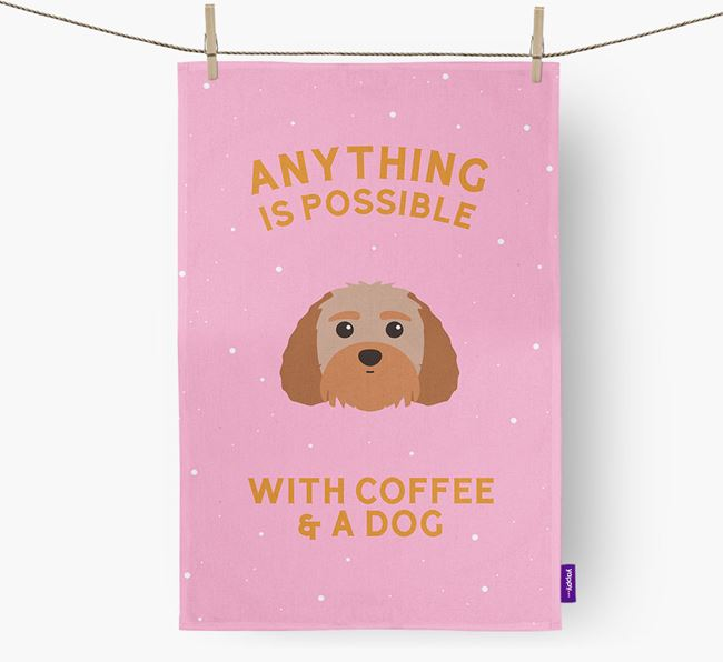 'Anything Is Possible With Coffee/Tea...' - Personalized Terri-Poo Dish Towel