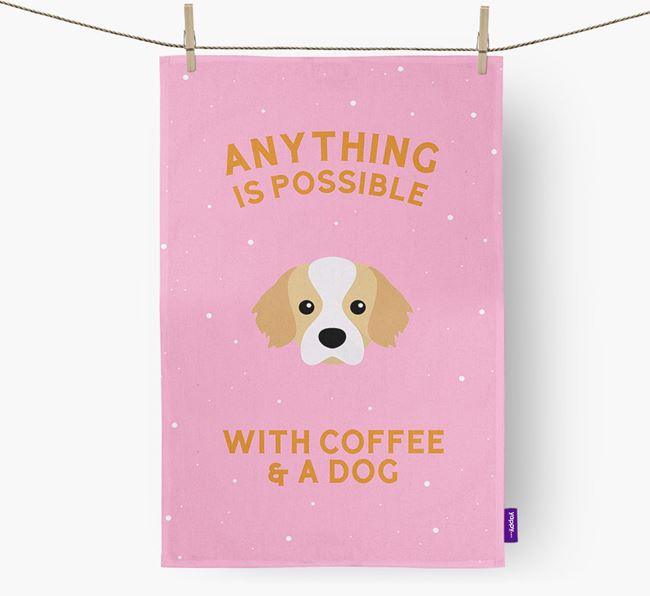 'Anything Is Possible With Coffee/Tea...' - Personalized Tibetan Spaniel Dish Towel